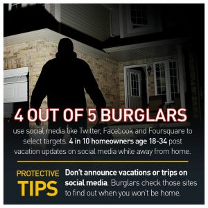 4 out of 5 burglars use social media to plan their burglaries. Don't make this security mistake.